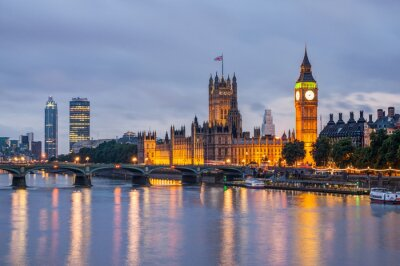 Fototapeta Big Ben a Westminster Bridge za soumraku, Londýn, Velká Británie