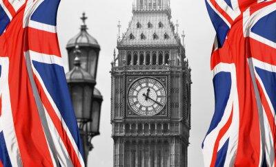 Fototapeta Big Ben v Londýně a anglické vlajky