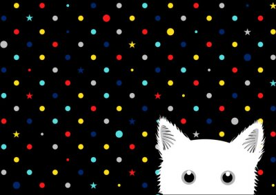 Fototapeta Bílá kočka barevné tečky hvězda pozadí vektorové ilustrace