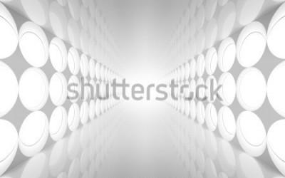 Fototapeta Bílé abstraktní 3d interiér s kulatým dekorem světla vzor na zdi