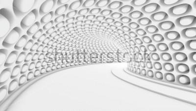 Fototapeta Bílé abstraktní tunel 3d pozadí. 3D vykreslení ilustrace