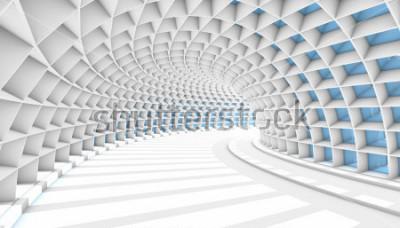 Fototapeta Bílé abstraktní tunel s modrým obdélník okna. 3D vykreslení ilustrace