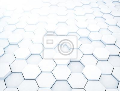 Bílé geometrické hexagonální abstraktní pozadí. 3d rendering