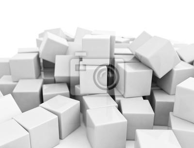 Bílé stavební bloky na bílém pozadí