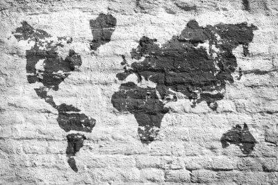 Fototapeta Bílé stěny a mapa obraz světa
