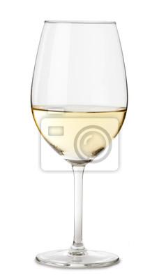 Fototapeta Bílé víno sklo na bílé