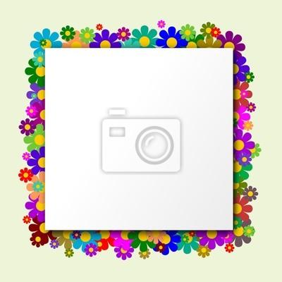 Fototapeta Bílý čtverec s květinami v pozadí