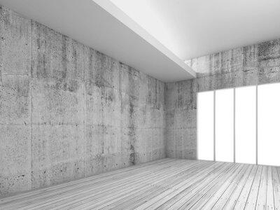 Fototapeta Bílý interiér pozadí s dřevěné podlahy, 3d