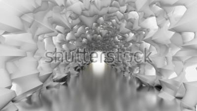 Fototapeta Bílý tunel a světlo. 3D ilustrace, 3d vykreslování.