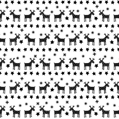 Fototapeta Black and white seamless retro Christmas pattern - varied Xmas reindeers, stars and snowflakes. Happy New Year background. Vector design for winter holidays on white background.