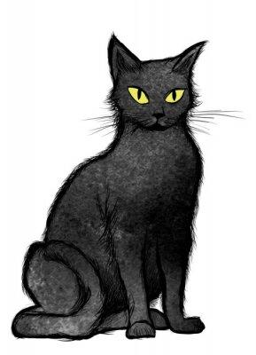Fototapeta Black Cat seděl a díval se na kameru