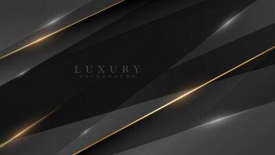 Fototapeta Black luxury background along with golden line, technology minimal scene concept, empty space for text. 3d Vector illustration.