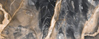 Fototapeta Black marble texture background with golden veins, Black marble natural pattern for background, Abstract black white and gold, Black and yellow marble for ceramic wall and floor tiles.