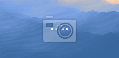 Fototapeta Blue abstract ocean seascape. Sea surface. Water waves. Nature background. Vector illustration for design.