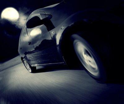 Fototapeta Boční pohled na černé auto v pořadí