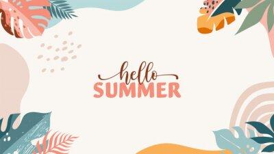 Fototapeta Bohemian Summer, modern summer sale background and banner design of rainbow, flamingo, pineapple, ice cream and watermelon