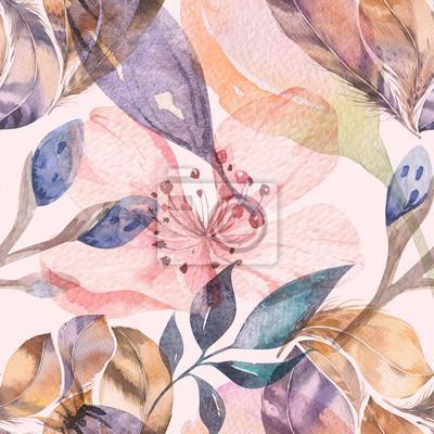 Fototapeta Boho bezešvé akvarel vzorek peří a divokých květin, listy, větve květiny, ilustrace, láska a peří, bohémská výzdoba jarní květy