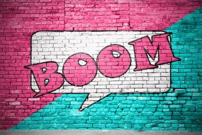 Fototapeta Boom Cartoon cihlové zdi graffiti