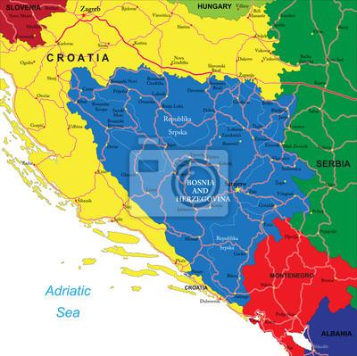 Bosna A Hercegovina Mapa Fototapeta Fototapety Chorvatsky