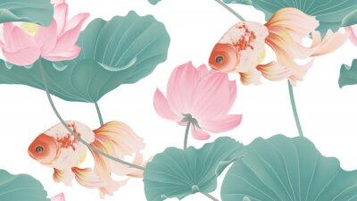 Fototapeta Botanical seamless pattern, pink lotus flowers and goldfish on white background, pastel vintage style