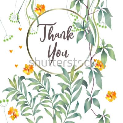 Fototapeta Botanická karta s listy monstera, květiny. Jarní koncept ornamentu. Květinový plakát, pozvat. Luxusní rozvržení dekorativní blahopřání nebo pozadí pozvánky. Ručně kreslená ilustrace