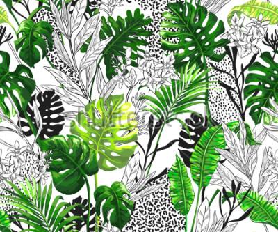 Fototapeta Botanické pozadí s tropickými palmovými listy. Bezešvá vektorová vzor v módní havajské stylu.
