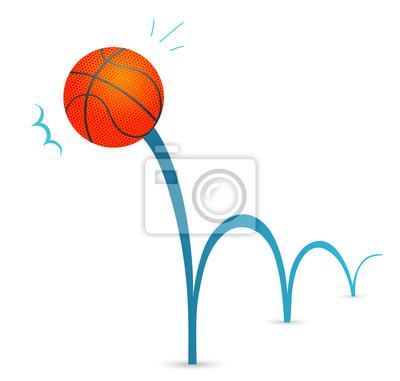 Bouncing Basketbal Mic Kreslene Ilustrace Fototapeta Fototapety