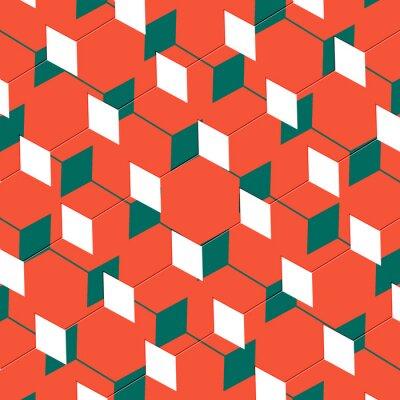 Fototapeta Box abstraktní kubistické umění iluze v oranžové a zelené