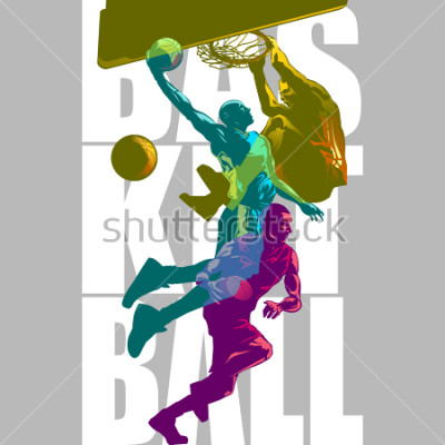 Fototapeta Bright Basketball players silhouettes with Colour Channel overlaping  sport illustration