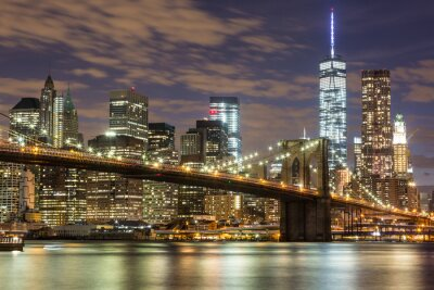 Fototapeta Brooklyn Bridge a Downtown Mrakodrapy v New Yorku za soumraku
