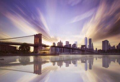 Fototapeta Brooklyn bridge při západu slunce