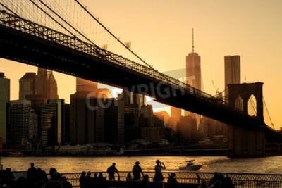 Fototapeta Brooklynský most při západu slunce, New York City