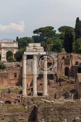 Fototapeta Budování ruin a antické sloupy v Řím, Itálie