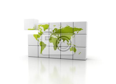 Budování zeleného světa. 3D kostky a zelená mapa světa na kostkách stavební bloky