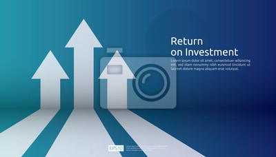 Fototapeta business arrow target direction concept to success. Finance growth vision stretching rising up. banner flat style vector illustration. Return on investment ROI. chart increase profit.