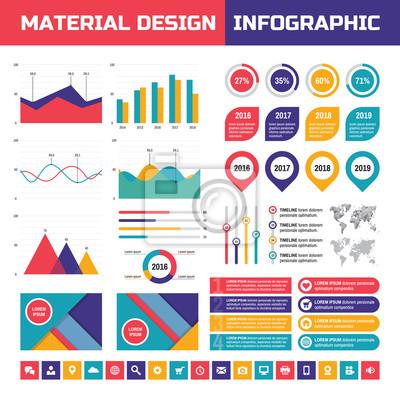Fototapeta Business infographic vector set v materiálovém designu stylu.  Obchodní infografiky prvky. Infographic v fea6c75168