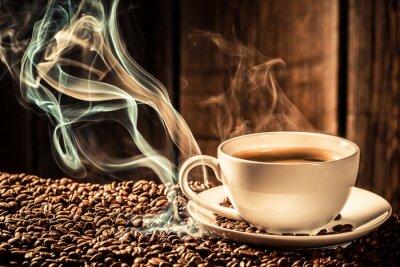 Fototapeta Button šálek kávy s praženými semínky