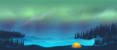 Fototapeta Camping in tent under Aurora Borealis Northern Lights in Snow
