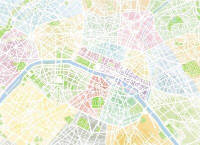 Fototapeta Cartina Parigi, disegnata Mano, pennellate, strade e vie, Francie