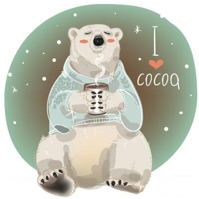 Fototapeta Cartoon bílý medvěd se šálkem horké nápoje