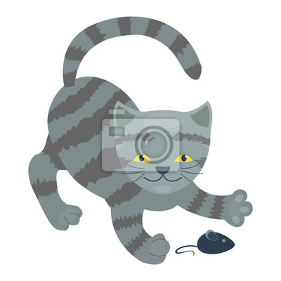 Fototapeta Cartoon Kitty vektorové ilustrace siluetu. Roztomilých domácí kočka kočička zvíře. Kočka mladý rozkošný ocas symbol hravý tlapka. Kreslený vtipný odběrem teplé Pussy charakter