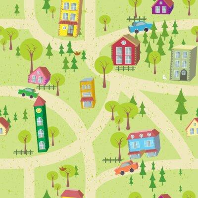 Fototapeta Cartoon mapa bezešvé vzor s domy a silnice