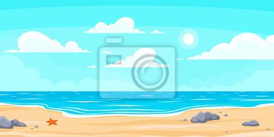 Fototapeta Cartoon summer beach. Paradise nature vacation, ocean or sea seashore. Seaside landscape vector background illustration