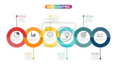 Fototapeta Časová osa šablony Infografická barevná horizontální očíslovaná pro šest pozic může být použita pro workflow, banner, diagram, web design, plošný graf