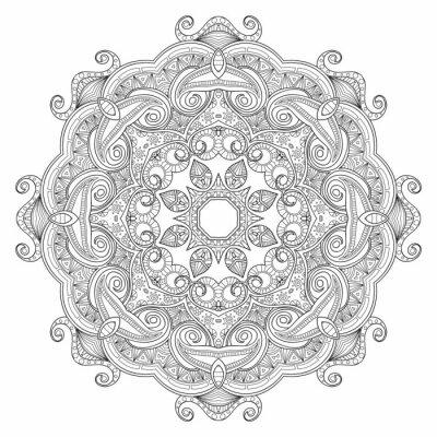Fototapeta Černá a bílá abstraktní kruhový vzor mandala etnických.