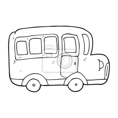 Cerna A Bila Kresleny Film Zluty Skolni Autobus Fototapeta