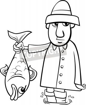 Cerna A Bila Kresleny Ilustrace Rybar Nebo Rybare S Big Fish