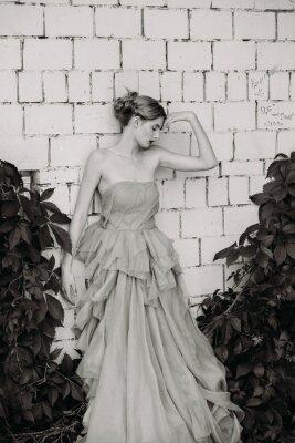 Fototapeta Černá a bílá módní fotografie krásné dívky v šatech.