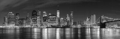 Fototapeta Černá a bílá New York City v noci panoramatického obrazu, USA.