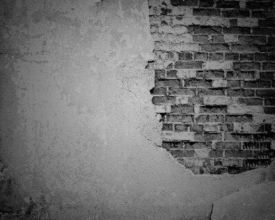 Fototapeta Černá grunge zvětralý, popraskané cihlové zdi textury